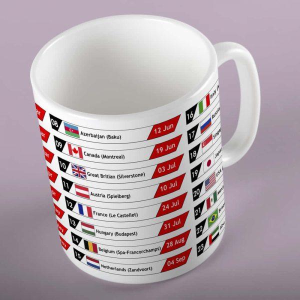 F1 Race Calendar Gift Mug