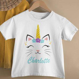 Personalised Caticorn Name Tshirt